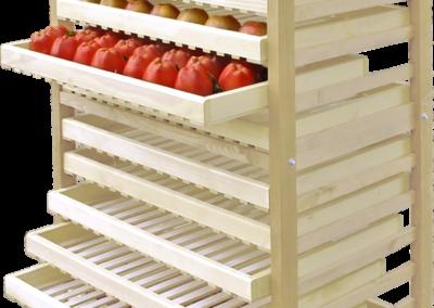 15-Fächer-Version unseres Obstregals zum Lagern von Äpfeln, Birnen, Kartoffeln und anderem Obst & Gemüse